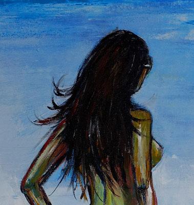 Suchend nackte Frau am Strand handgemalt Gemälde Erotik Malerei Bild Leinwandbild