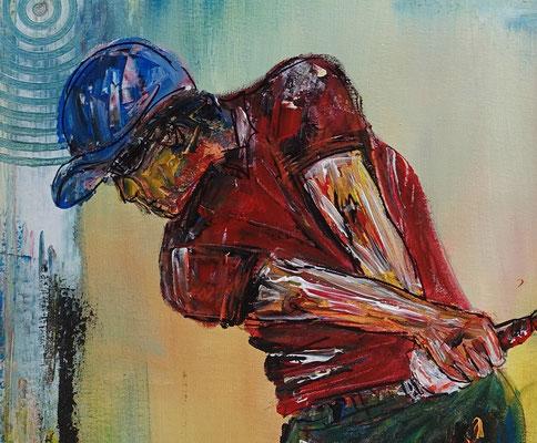 Golfer Abschlag Golfbild Golfspieler Malerei Wandbild Gemälde Unikat Acrylbild Turnierpreise Modern 80x100