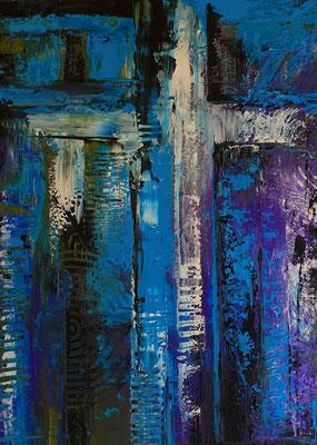 Abstraktes Kreuz blau türkis lila Acrylbild Strukturbild Malerei Original