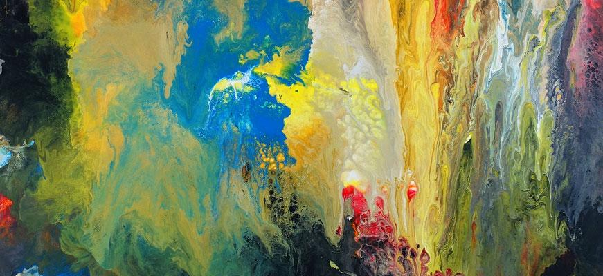 Höhlenreich abstraktes Wandbild XXL orange rot Kunst Bild Original Gemälde
