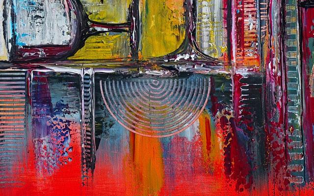Wein Stillleben Weinflasche Gläser abstrakt Malerei Gemälde Leinwandbild Küchenbild
