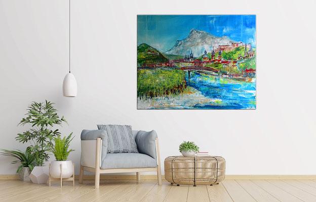 Salzburg Altstadt abstrakt gemalt - Gemälde Acrylbild Kapuzinerberg Festung Kunst