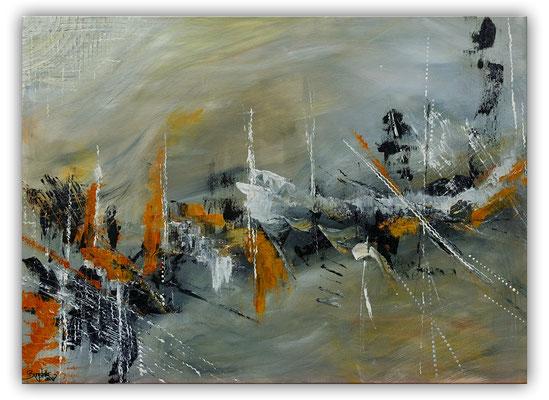 Schiffsbruch abstraktes Original Gemälde Kunst Bild grau beige