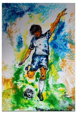 Abstoß Fußballspieler Original Gemälde handgemaltes Acrylbild Fluid Art 60x90