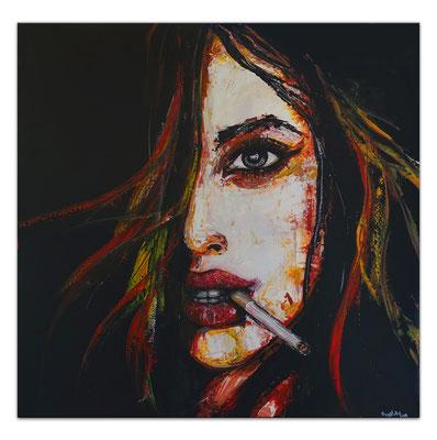 Smoking Menschen Frau Gesicht Malerei Acrylbild GEmälde Unikat handgemaltes Leinwandbild 100x100