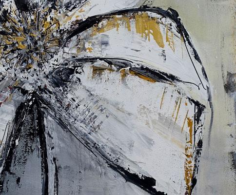 Wandbild Blumen Bilder gemalt Modern grau gold