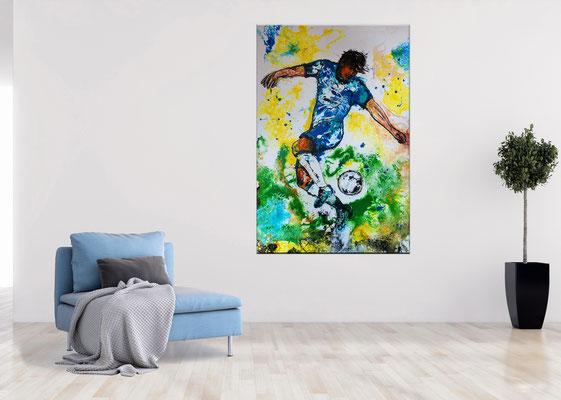 Leinwandbild Fußball Hacke abstrakte Kunst Malerei Original Gemälde Wandbild