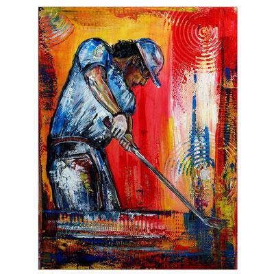Golfer Abschlag Golfspieler Golfbilder Malerei Gemälde Wandbild Acrylbild