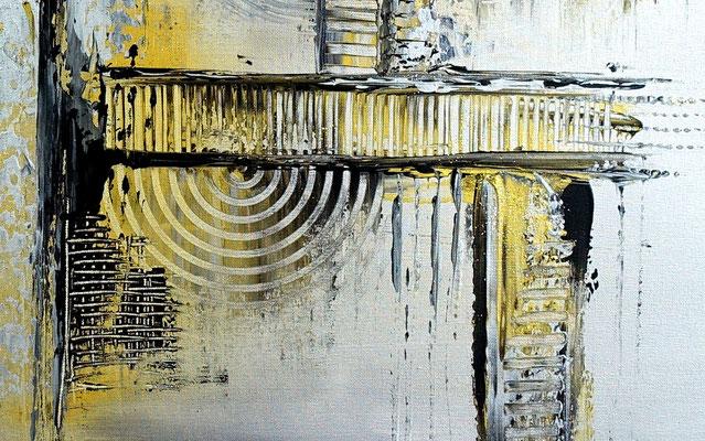 Silber Gold Sept Malerei abstrakt Bild Gemälde 100x100