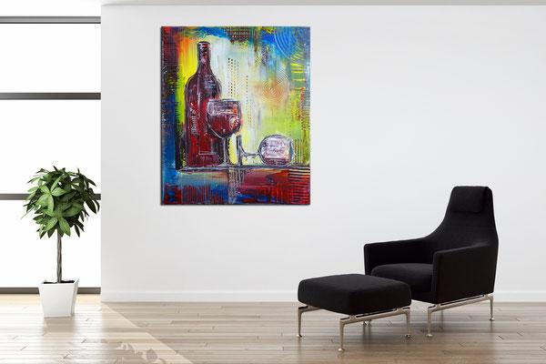 Weingläser Flasche abstrakte Rotwein Gläser Acrylbild Wandbild