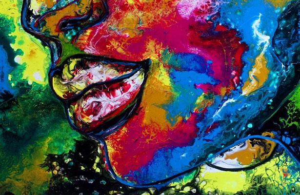 Jolie Wandbild modernes Frauengesicht handgemalt Acrylbild Porträt Malerei abstrakt