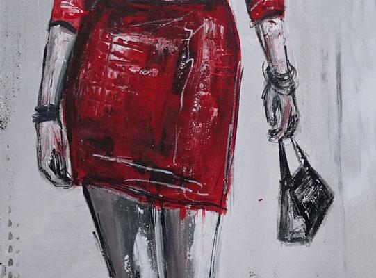 Ladys Frauen rote Kleider Malerei Acrylbild Gemälde Unikat Original Kunst 70x100
