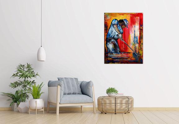 Golfer Abschlag Golfspieler Golfbilder Malerei Gemälde Wandbild Acrylbild Kunst Bilder 60x80x2 - 21-03-01