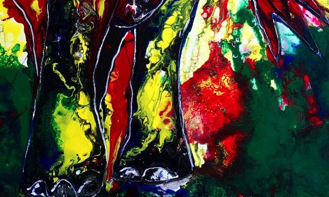 Wandbild Elefantenbulle handgemalt Acryl Malerei Pouring Gemälde gemalt abstrakt