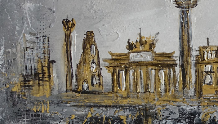 Berlin Wandbild Skyline gold grau Strukturbild Malerei Acrylbild Leinwand