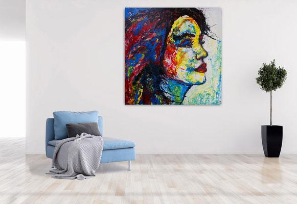 Wo bist Du Wandbild Porträt abstrakt gemalt Fluid Art Menschen Gesichter Malerei Moderne Kunst 100x100x2 k