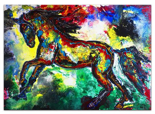 Wandbild Leinwandbild Buntes Pferd Acryl Malerei Original Gemälde 100x70