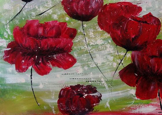 Mohnblumen Tanz Blumenmalerei Wandbild Blüten handgemalt Kunstbild Leinwandbild
