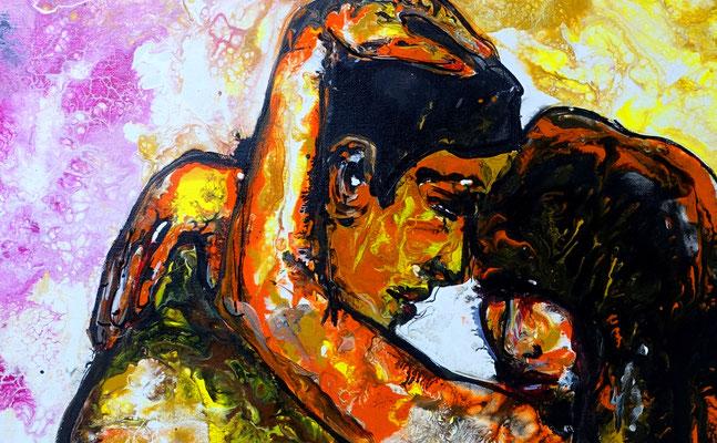 Zärtlichkeiten Erotische Malerei Pouring Acrylbild Gemälde Erotik Kunst BIld 60x90