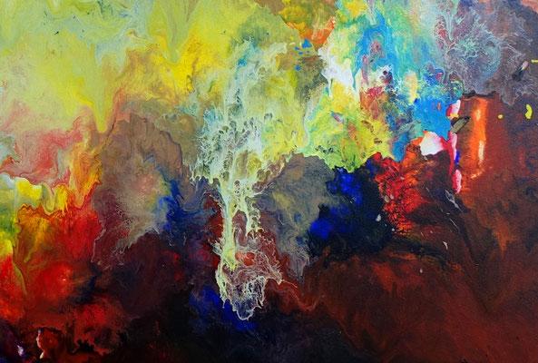 Urknall 21-05 abstraktes Wandbild XXL rot gelb buntes Original Acryl Gemälde Unikat handgemalt
