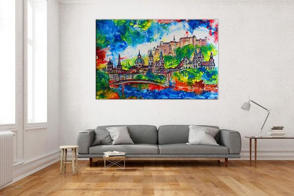 Salzburg Altstadt Festung Dom Gemälde Malerei Wandbild  liqud painting abstrakt
