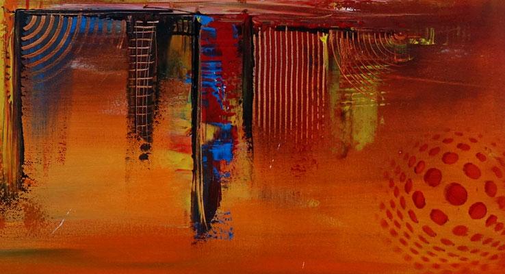 Nevada Skyline abstrakte Malerei gelb orange Leinwandbild Wandbilder Acryl Gemälde