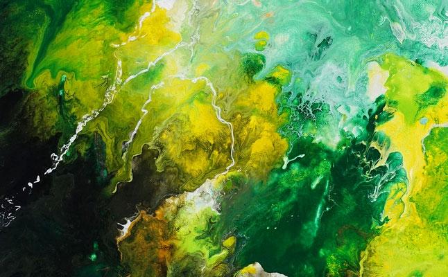 Fauna abstrakte Malerei Acrylbild grün beige Unikat Original Künstlerbild