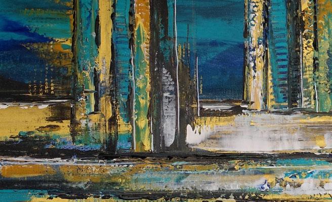 Nordwind abstrakte Malerei Wandbild blau gold handgemalt Original Gemälde Acrylbild