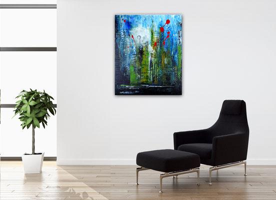 Golfball abstrakte Malerei Modernes Wandbild blau grün turnierpreis