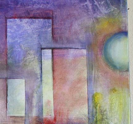 Planeten Stadt lila rot gelb bunt abstraktes Wandbild XXL Acrylbild