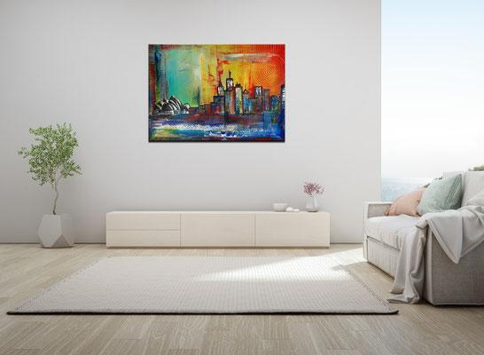 Sydney Skyline 2 abstrakt gemalt Oper Stadtbild Malerei Original Gemälde 100x70 21-02