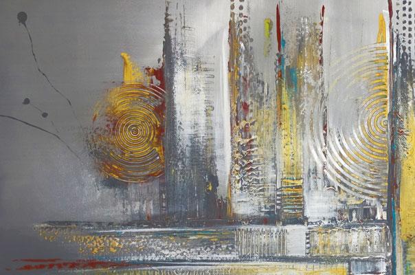 Dripping Gold abstraktes Wandbild Leinwandbild beige grau handemalt Acryl Gemälde