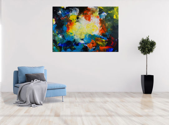 Galaktischer Nebel abstrakt gemalt Fluid Art Wandbild blau gelb bunt Original Gemälde Acryl Malerei 116x81