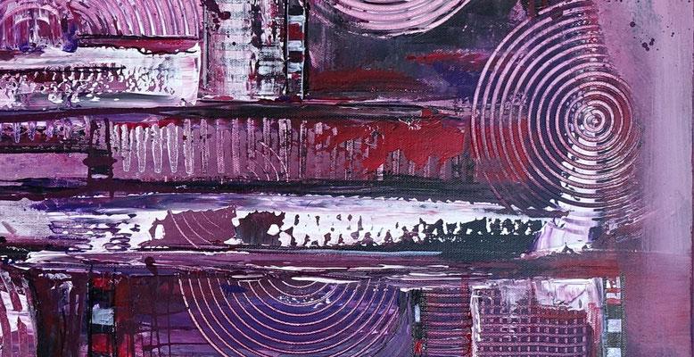 Lila City 3 abstrakte Malerei Wandbild Acrylbild Moderne Kunst Original Gemälde 80x80