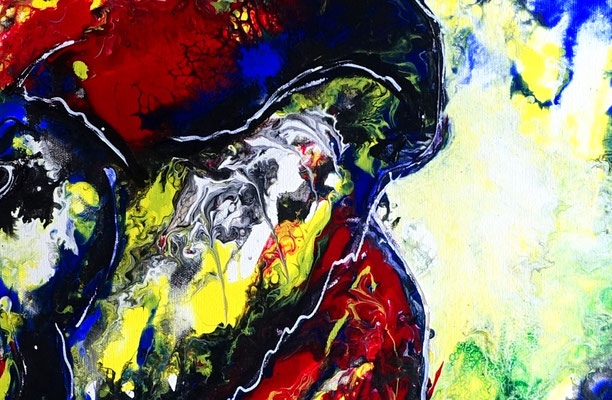 Wandbild Elefantenbulle handgemalt Acryl Malerei Pouring handgemalt abstrakt