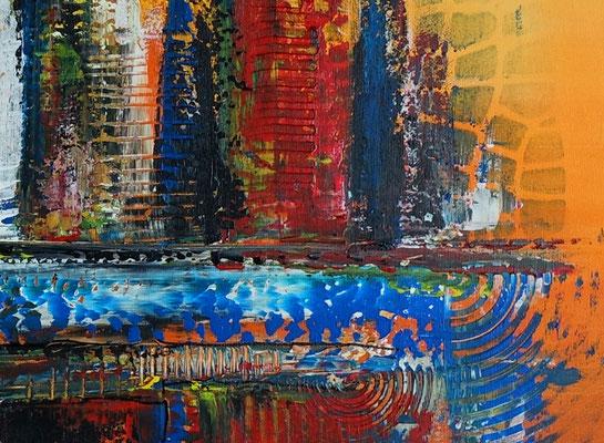 Oase abstraktes Leinwandbild orange blau modernes Kunstbild Büro