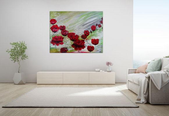 Mohnblumen Tanz Blumenmalerei Wandbild Blüten handgemalt Kunstbild Leinwandbild Acrylbild 100x80x2 21-03