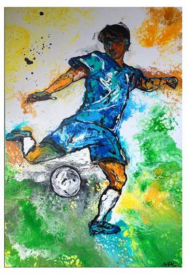 Abstoß Fußballer Spieler abstrakte Malerei Fluid Art Gemälde Kunstbild 60x90 Bild