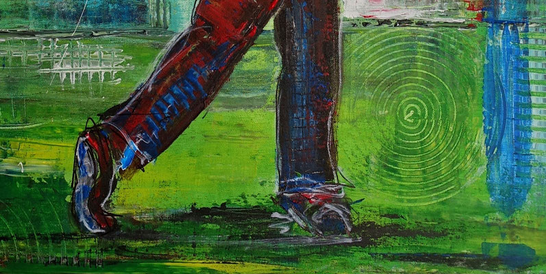 Golfer Abschlag Golfbild Gemälde Golfplatz Malerei Wandbild Leinwandbild Original