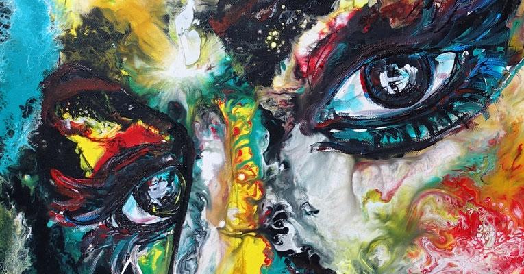 Witch Leinwandbild Gesichter Porträt Malerei Kunst Bilder Menschen Unikat Acryl Gemälde