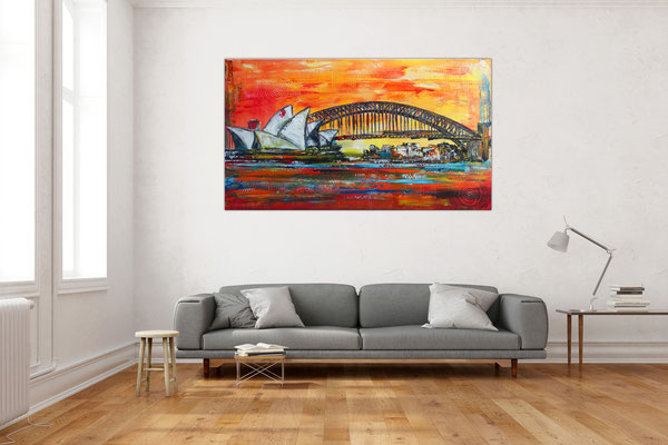 Sydney Skyline Wandbild Oper Harbour Bridge handgemalt XXL Gemälde Acrylbild Unikat Original 140x80x2 - 21-03-02