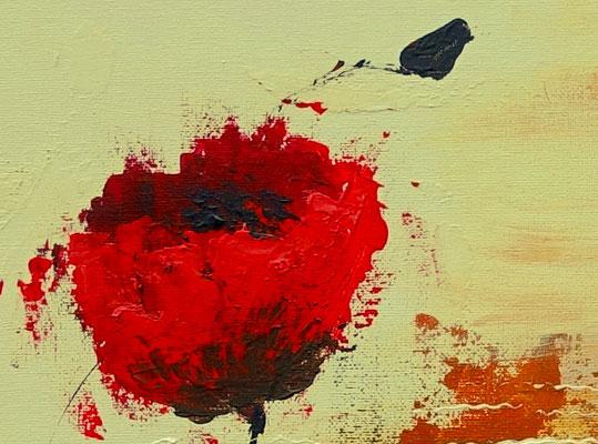 Mohnblumen Wind Küchenbild rot beige handgemaltes Acrylbild