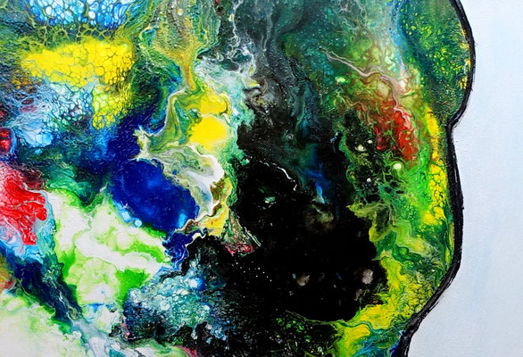 Der Kuss Mann Frau Liebespaar Liebesbild Gemälde Fluid Painting handgemalt