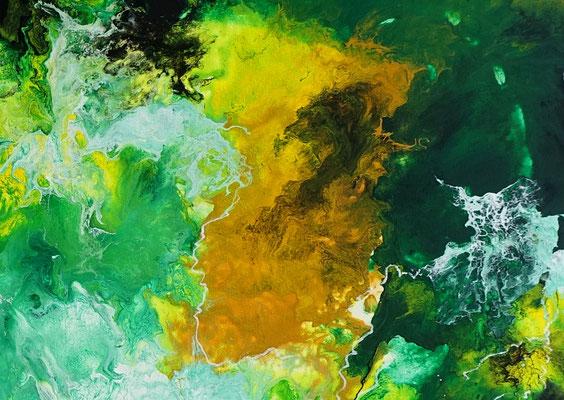 Fauna abstrakte Malerei Acrylbild grün beige Unikat