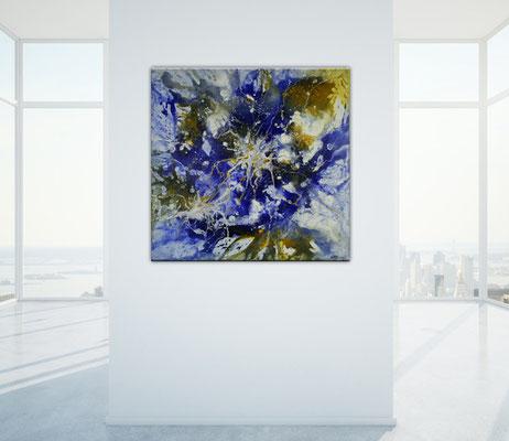 Vernetzt - Abstrakte Kunst blau ocker, Original Bild quadratisch