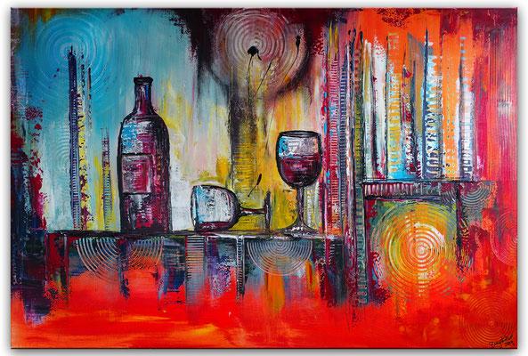 Wein Stillleben Weinflasche Gläser abstrakt Acryl Malerei Gemälde Leinwandbild Küchenbild