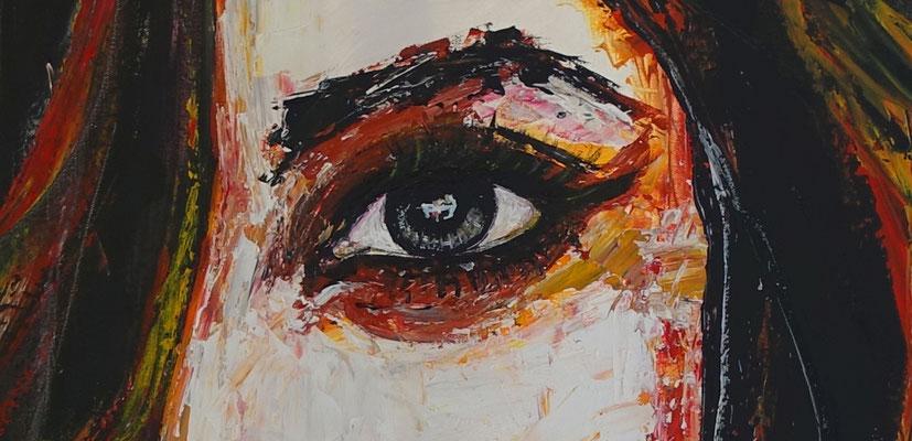 Smoking Menschen Frau Gesicht Malerei Acrylbild GEmälde Unikat handgemaltes Leinwandbild