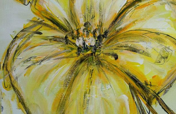 Zwei gelbe Blüten handgemaltes Blumenbild Wandbild Blumen Malerei