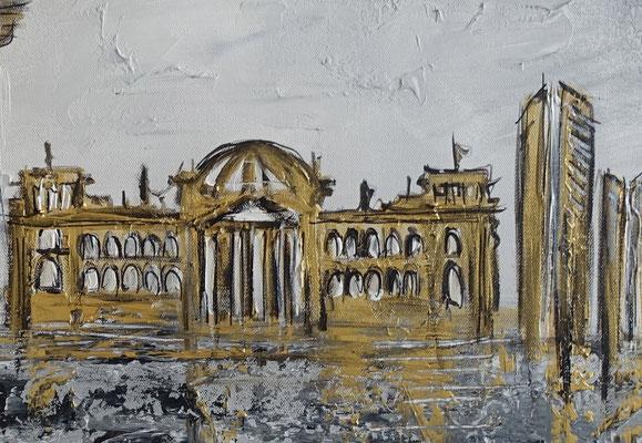 Berlin Wandbild Skyline gold grau Strukturbild Malerei Acrylbild