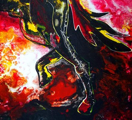 Feuerpferd 4 100x100 Pferdebild Pferd handgemalt abstrakt schwarzer Hengst Malerei Gemälde